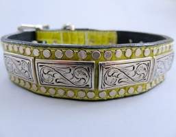 K9 The Barbarian Squares Green Leather Collars