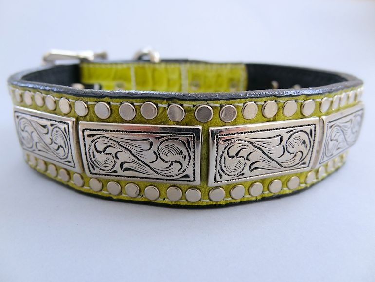 K9 Squares Green Crocko Leather Dog Collar