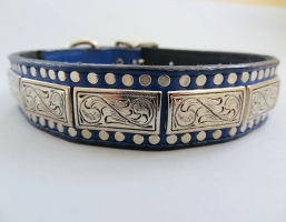K9 The Barbarian Squares Indigo Leather Collars