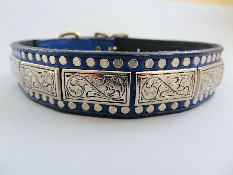 K9 Squares Indigo Leather Dog Collar