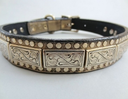 K9 The Barbarian Squares Pewter Leather Collars