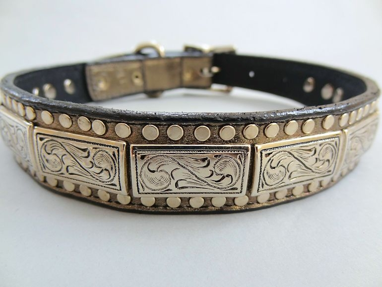 K9 Squares Pewter Metallic Leather Dog Collar