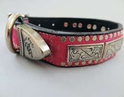 K9 The Barbarian Squares Hot Pink Suede Collars