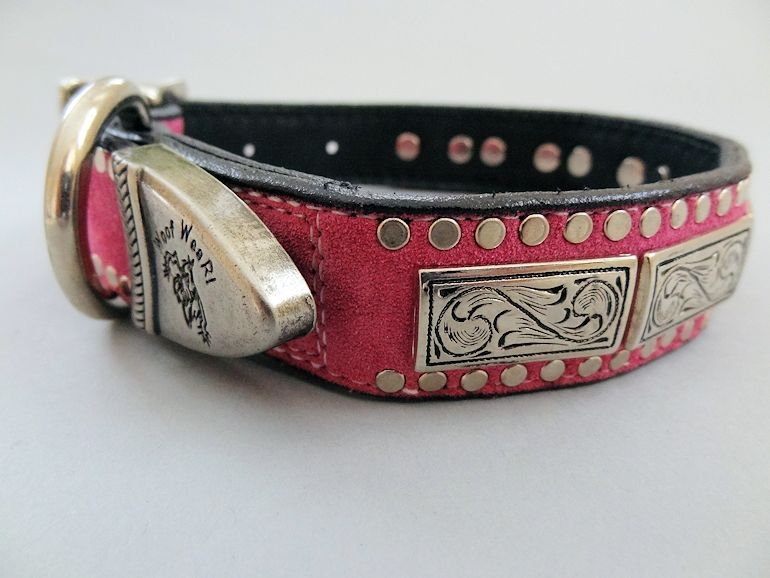 K9 Squares Hot Pink Suede Dog Collar