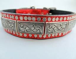 K9 The Barbarian Squares Red Leather Collars