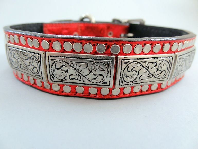 K9 Squares Red Metallic Leather Dog Collar