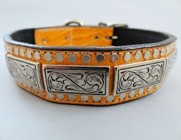 K9 The Barbarian Squares Tangerine Leather Collars
