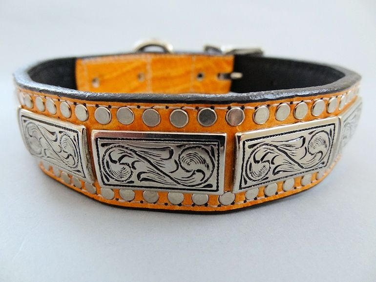 K9 Squares Tangerine Leather Dog Collar