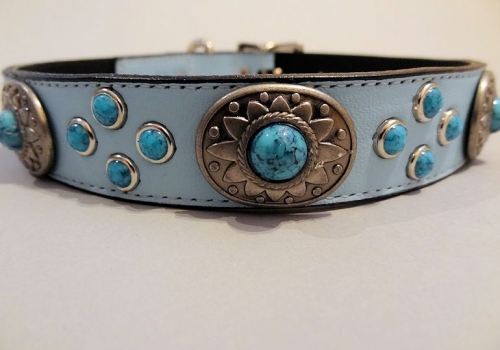 Southwest Mideval Blue Leather Collars