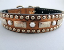 Square Pearl Bronze Metallic Leather Collars