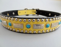 Square Turquoise Banana Leather Collars