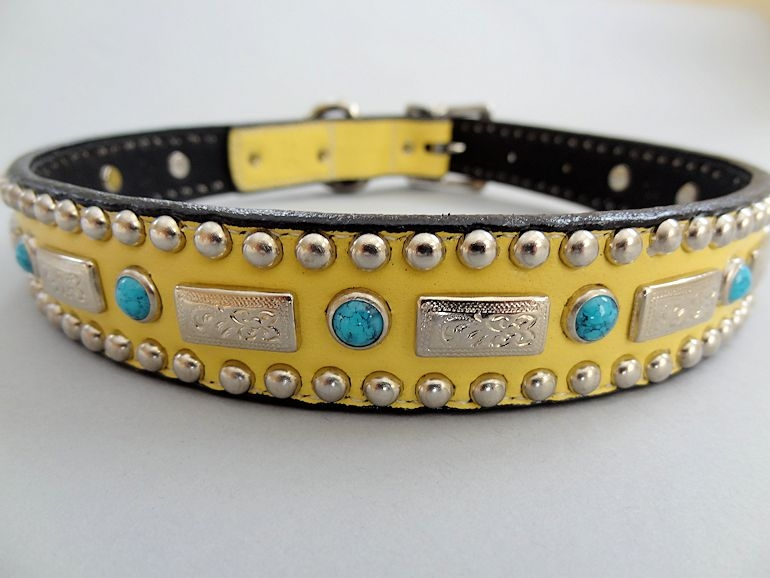 Square Turquoise Banana Leather Dog Collar