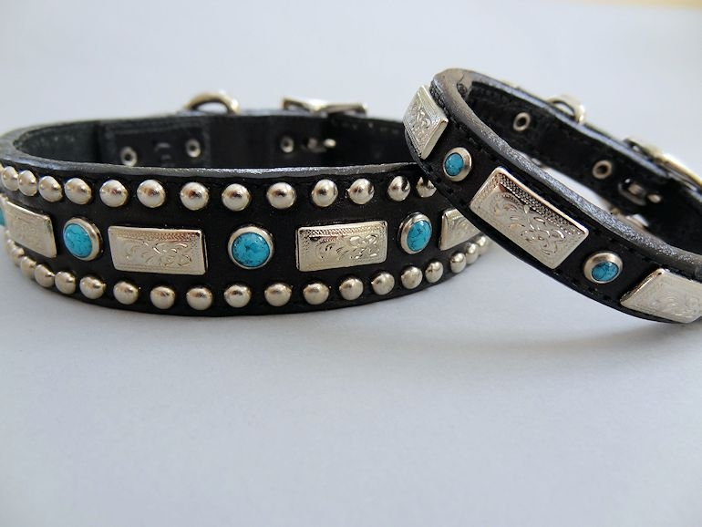 Square Turquoise Black Leather Dog Collar