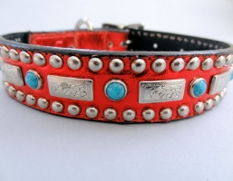Square Turquoise Red Metallic Leather Collars