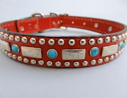 Square Turquoise Red Leather Collars