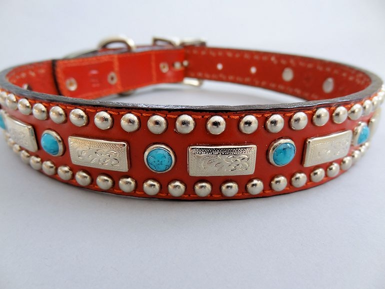 Square Turquoise Red Leather Dog Collar