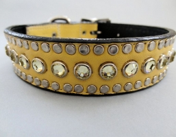 All Swarovski Banana Creme Leather Collars