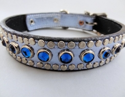 All Swarovski Blue Metallic Leather Collars