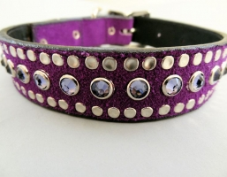 All Swarovski Purple Suede Collars