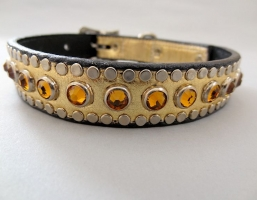 All Swarovski Gold Leather Collars