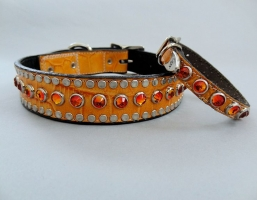 All Swarovski Tangerine Crocko Leather Collars