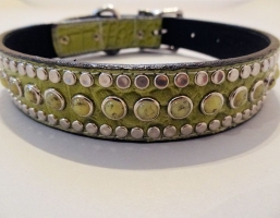 All Turquoise Green Crocko Leather Collars
