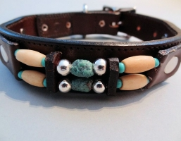 Turquoise Hair Choc Brown Leather Collars