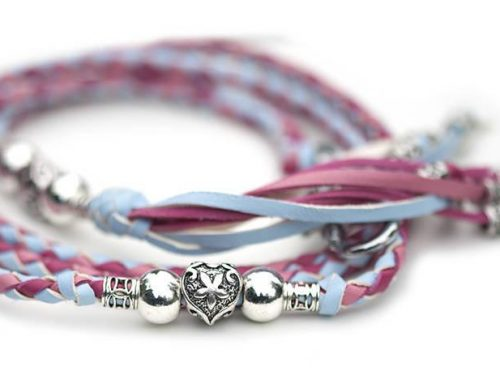 Kangaroo leather show lead in baby blue, soft pink & hot pink 1