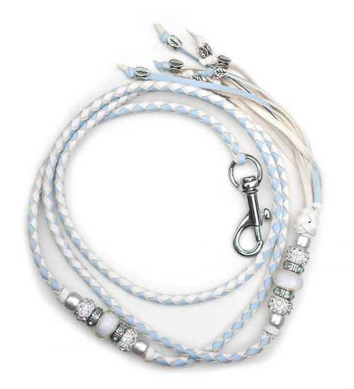 Kangaroo leather show lead in baby blue & white 2