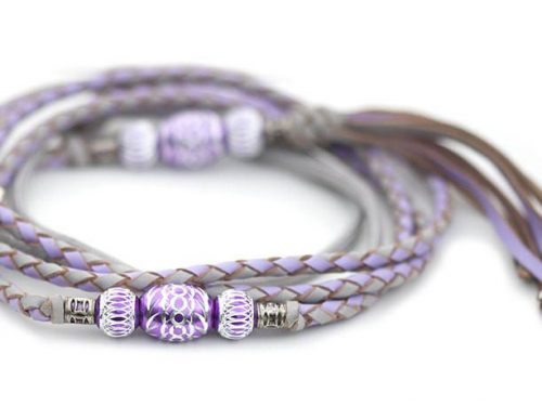 Kangaroo leather show lead in dove grey & lavender 1