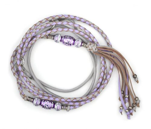 Kangaroo leather show lead in dove grey & lavender 2