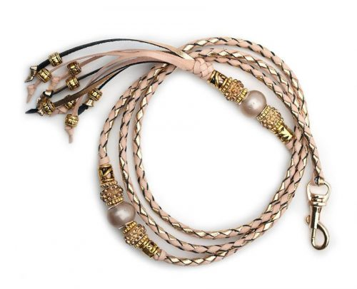 Kangaroo leather show lead in gold & natural 2