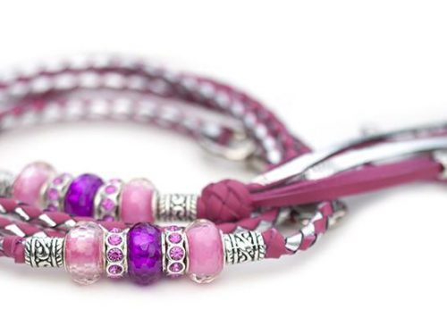 Kangaroo leather show lead in hot pink & silver 1