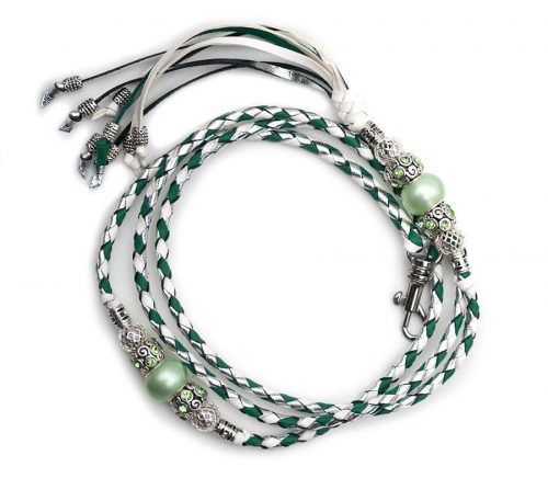 Kangaroo leather show lead in jade, white & silver