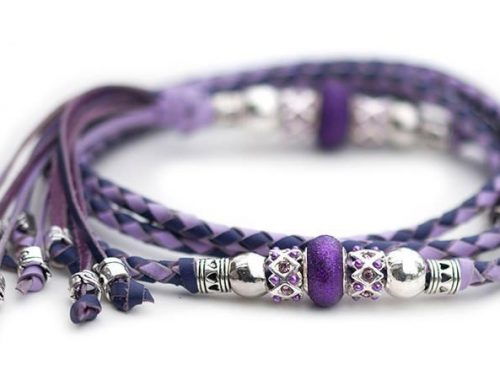Kangaroo leather show lead in lavender & purple 1