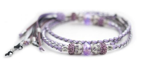 Kangaroo leather show lead in lavender & silver