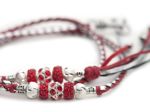 Kangaroo leather show lead in red & silver 1
