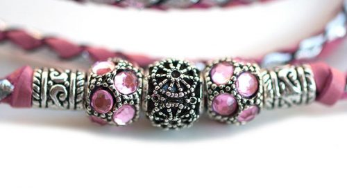 Kangaroo leather show lead in soft pink & silver 3