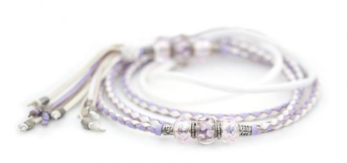 Kangaroo leather show lead in white & lavender 1