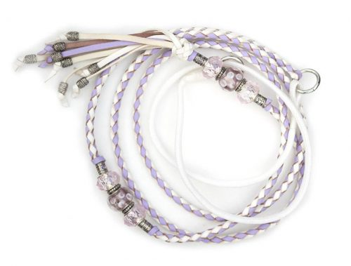 Kangaroo leather show lead in white & lavender 2