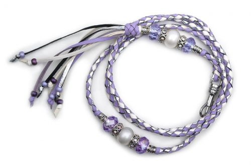 Kangaroo leather show lead in white, lavender & silver 2