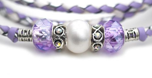 Kangaroo leather show lead in white, lavender & silver 3