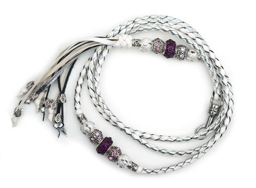 Kangaroo leather show lead in white & silver 2