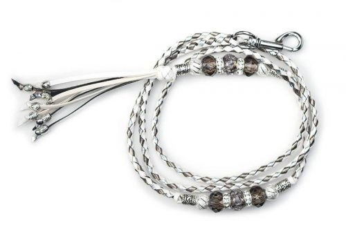 Kangaroo leather show lead in white, silver & pewter 2