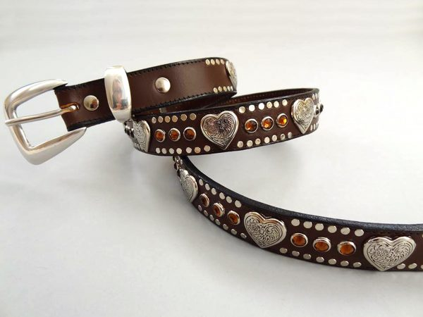 Heart & Crystal belt in brown Italian leather with smoke Swarovski crystals