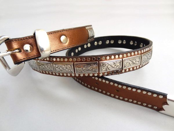 K9 Square belt in bronze metallic Italian leather