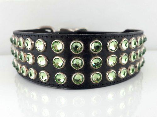 Dog collar Mucho in black Italian leather with peridot Swarovski crystals