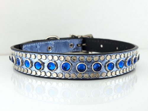 Dog collar All Swarovski in blue metallic Italian leather with Bermuda Swarovski crystals