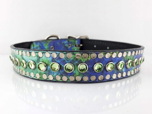 Dog collar All Swarovski in crystal rainbow Italian leather with peridot Swarovski crystals