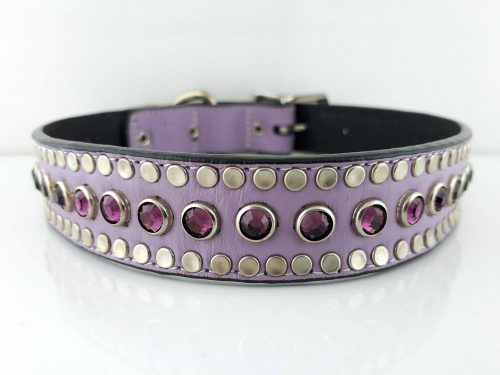 Dog collar All Swarovski in lavender Italian leather with amethyst Swarovski crystals